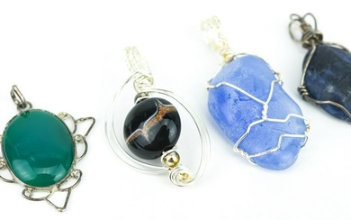 Collection Silver Wire Wrapped Necklace Pendants
