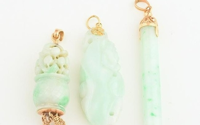 Collection of Three Jade, 18k Yellow Gold Pendants.