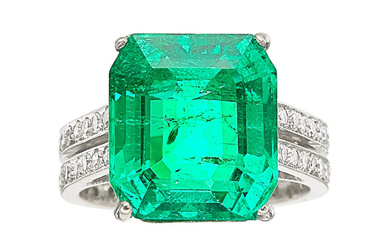 Colombian Emerald, Diamond, White Gold Ring The eternity ring...