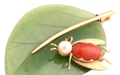 *Cultured Pearl, Coral, Nephrite Jade, 14k Yellow Gold