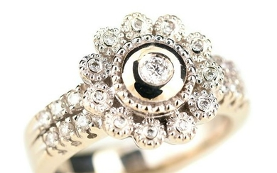 Diamond, 18k White Gold Flower Ring.