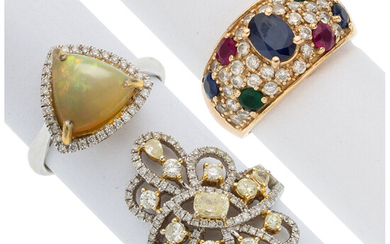 Diamond, Colored Diamond, Multi-Stone, Gold Rings The lot includes...