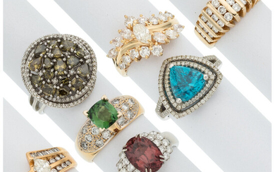 Diamond, Multi-Stone, Gold Rings The lot includes seven rings:...