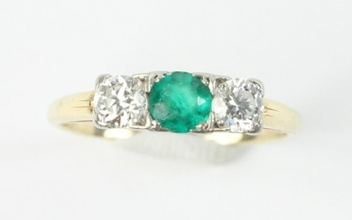 Diamond and 14k Gold Emerald Ring