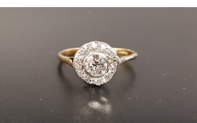 EDWARDIAN DIAMOND CLUSTER RING the central round brilliant c...