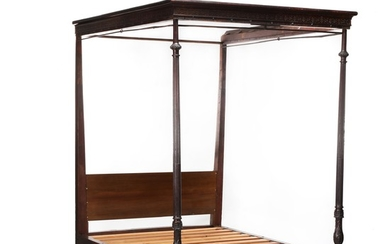 English Chippendale Carved Mahogany Tall Post Tester Bed