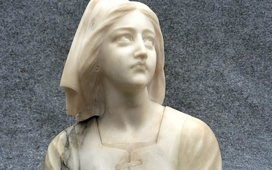 Enrico Castellucci, Italy, Carved Alabaster Bust Woman