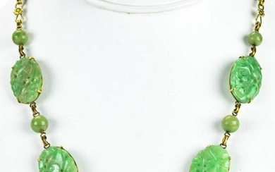 Estate Chinese 14kt Yellow Gold & Jade Necklace