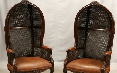 FRENCH, CANED BACK, BALLOON CHAIRS, PAIR