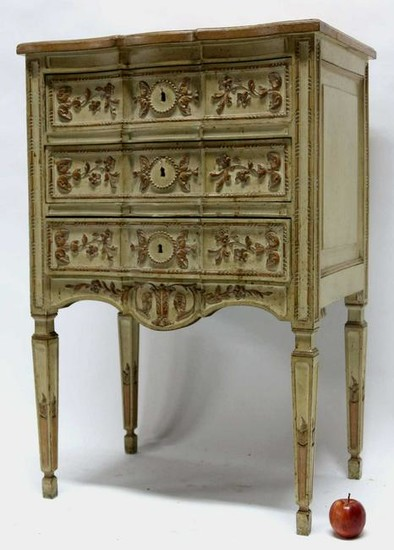 FRENCH FINE CARVED PAINT DECORATED COMMODE STAND