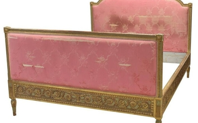 FRENCH LOUIS XVI STYLE UPHOLSTERED PARCLE GILT BED