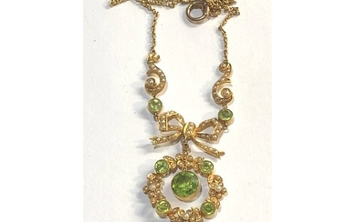 Fine antique gold seed-pearl and peridot pendant necklace