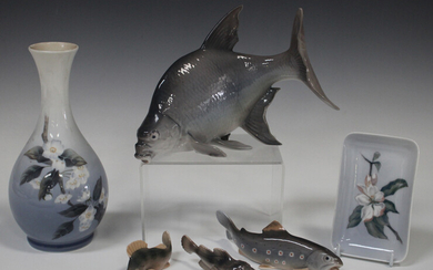 Four Bing & Grondahl fish, comprising sea scorpion, No. 2144 (tiny nick to fin), trout, No. 2169