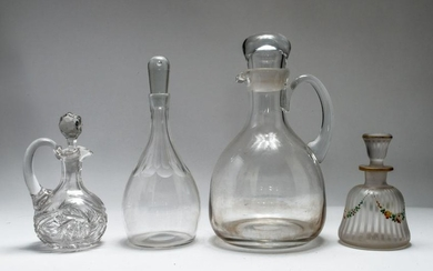 Four Glass Decanters/Bar Accessories