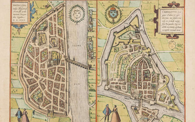 France.- Fourteen maps including Braun & Hogenberg's plans of Macon and Chalons, 17th and 18th centuries (14)