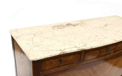 French Classical Style Marble Top Inlaid Commode