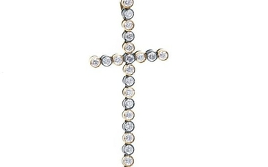 GIL SOUSA - gold and silver cross pendant with sto