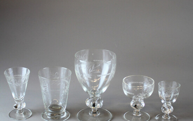 GLASS 45 parts with etched decor 20th century.