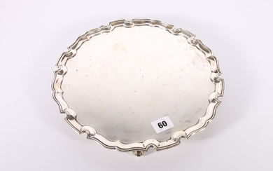 George V Art Deco period silver salver with pie crust edge r...