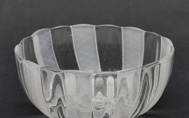 Glass shaped bowl with white filigree decoration, design...