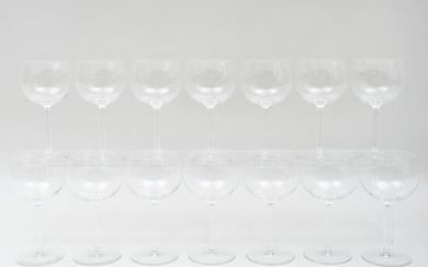 Group of Fourteen Val Saint Lambert Red Wine Glasses