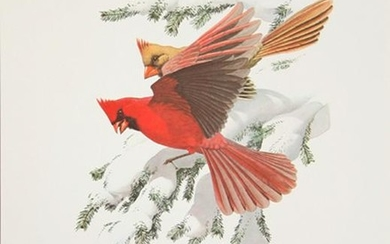 Guy Coheleach, Winter Cardinals, Lithograph