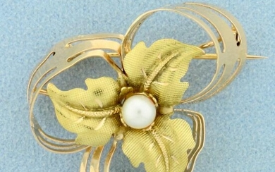 Hand Crafted Custom Design Pearl Leaf Pin in 18K Yellow