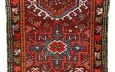Handmade antique Persian Karajeh distressed runner 2.2'