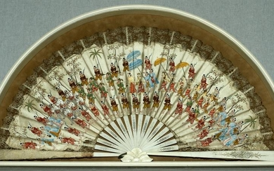 "INDIA, FAN IN SHADOWBOX H 14.75"" W 26.5"""