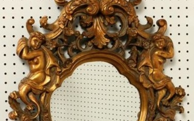 "ITALIAN CARVED WOOD MIRROR H 35"", W 20"""