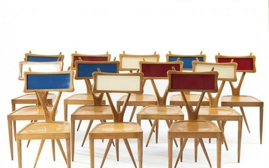Italy, 12 chairs, c. 1955