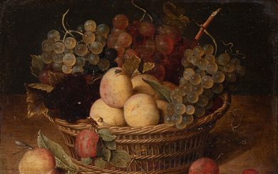 Jacob Van HULSDONCK Still life with fruit in a basket on a ledge