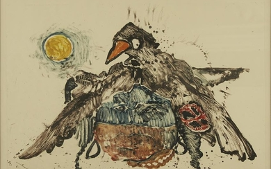 """Kevin Red Star """"Raven People I"""" Monotype on Paper"""