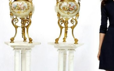 Large Pair of French Champleve Enamel/Bronze Vases