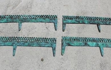 Lot of 4 antique verdigris cast iron garden edging