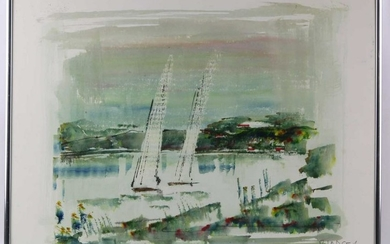 MODERN WATERCOLOR SAILBOAT STUDY SIGNED, ILLEGIBLE