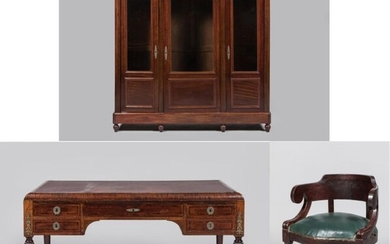 Mahogany and mahogany veneer desk set including a bookcase opening with 3 glass doors (Dim: 183x182x42cm), and a flat mahogany and mahogany veneer desk opening with 5 drawers in front, the lock entries in Restoration style. The desk has 2 drawers (Dim:...