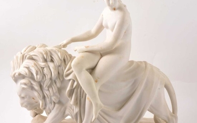 Minton Parian statue, Una and the Lion, after John Bell