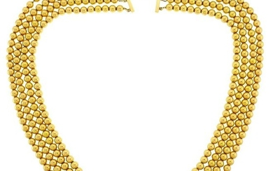 Multi-Strand Yellow Gold Bead NECKLACE 1960s