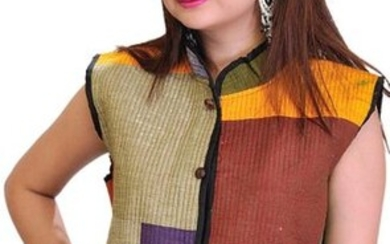 Multi colored Patchwork Reversible Jacket from Pilkhuwa with Front Pockets and Bagdoo Print