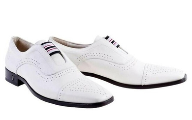 New VERSACE WHITE LEATHER LOAFER SHOES for MEN