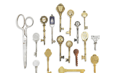 ONE 9 CARAT GOLD, SEVEN SILVER-GILT AND TWO SILVER PRESENTATION KEYS, VARIOUS MAKERS, LONDON AND BIRMINGHAM, 1936-1957