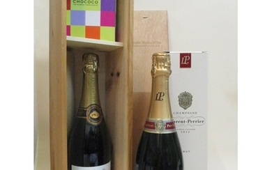 One bottle of Laurent-Perrier Champagne, boxes and one bottl...