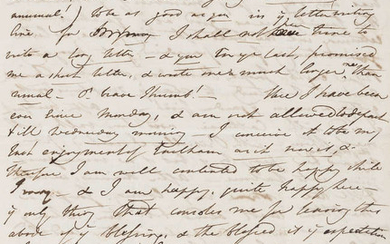 Opie (Amelia) 7 Autograph Letters signed, 1814 - 39, conversational letters to her cousin Thomas John Alderson & Mrs Carr; 4 Autograph Poems signed, manuscript, 1816-29; and a quantity of others, including manuscript notes and correspondence from her...