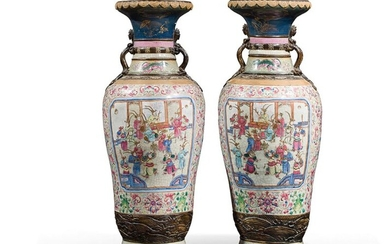PAIR OF BALUSTRY VASES China, Nanking, late 19th...