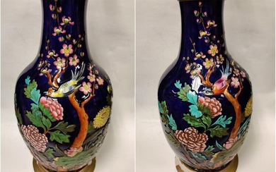 PAIR OF CHINESE PORCELAIN VASE MADE INTO LAMP