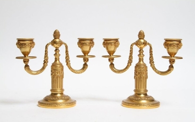 PAIR OF TWO-LIGHT CANDLE-HOLDERS OF STYLE LOUIS XVI...