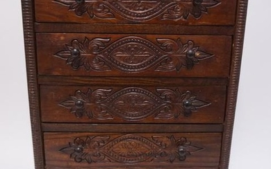 ANTIQUE VICTORIAN PRESS DECORATED 5 DRAWER MINIATURE CH