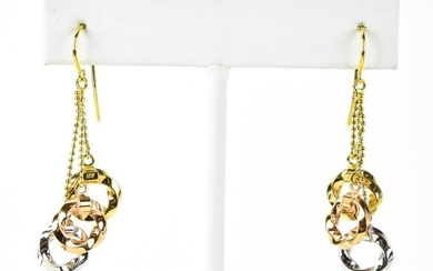 Pair 14kt Tri Color Gold Dangle Earrings