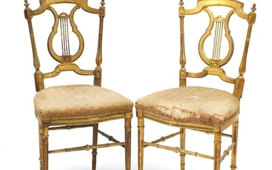 Pair of 19th century French Louis XVI style gilt wood